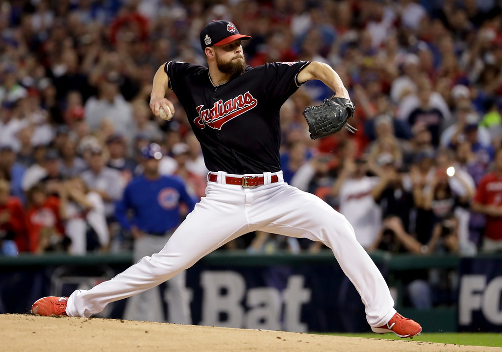 . Cleveland Indians starting pitcher Corey Kluber throws against the Chicago Cubs during the first inning of Game 7 of the Major League Baseball World Series Wednesday, Nov. 2, 2016, in Cleveland. (AP Photo/Matt Slocum)