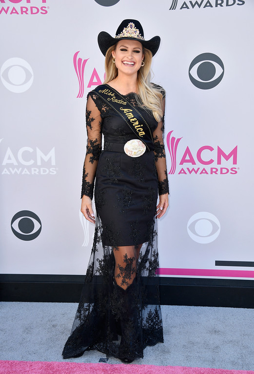 . LAS VEGAS, NV - APRIL 02:  Miss Rodeo America Lisa Lageschaar attends the 52nd Academy Of Country Music Awards at Toshiba Plaza on April 2, 2017 in Las Vegas, Nevada.  (Photo by Frazer Harrison/Getty Images)