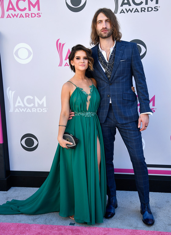 . LAS VEGAS, NV - APRIL 02:  Recording artists Maren Morris (L) and Ryan Hurd attend the 52nd Academy Of Country Music Awards at Toshiba Plaza on April 2, 2017 in Las Vegas, Nevada.  (Photo by Frazer Harrison/Getty Images)