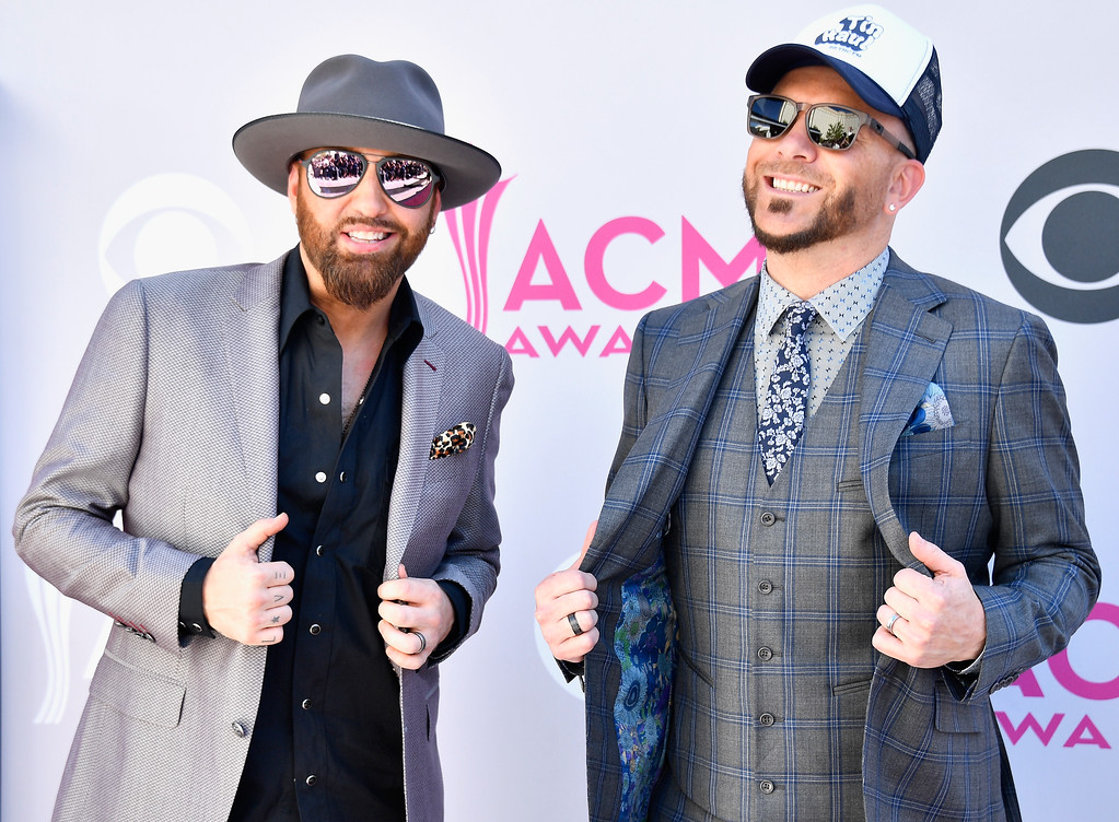 . LAS VEGAS, NV - APRIL 02:  Recording artists Preston Brust (L) and Chris Lucas of music group LoCash attend the 52nd Academy Of Country Music Awards at Toshiba Plaza on April 2, 2017 in Las Vegas, Nevada.  (Photo by Frazer Harrison/Getty Images)
