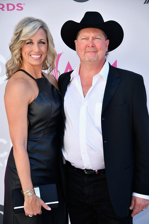 . LAS VEGAS, NV - APRIL 02:  Becca Lawrence (L) and recording artist Tracy Lawrence attend the 52nd Academy Of Country Music Awards at Toshiba Plaza on April 2, 2017 in Las Vegas, Nevada.  (Photo by Frazer Harrison/Getty Images)