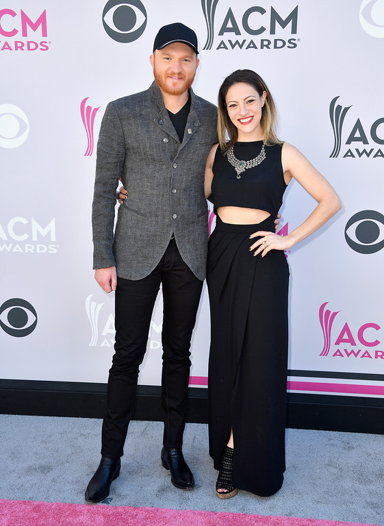 . LAS VEGAS, NV - APRIL 02:  Recording artist Eric Paslay (L) and Natalie Harker attend the 52nd Academy Of Country Music Awards at Toshiba Plaza on April 2, 2017 in Las Vegas, Nevada.  (Photo by Frazer Harrison/Getty Images)