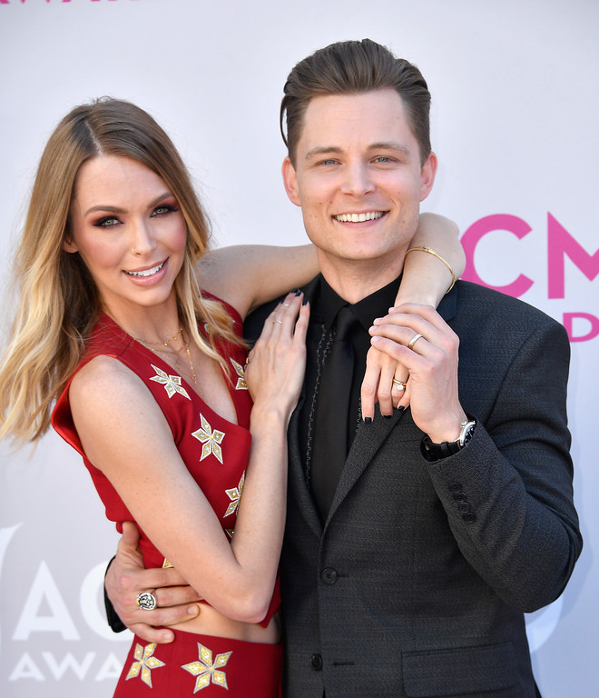 . LAS VEGAS, NV - APRIL 02:  Christina Murphy (L) and recording artist Frankie Ballard attend the 52nd Academy Of Country Music Awards at Toshiba Plaza on April 2, 2017 in Las Vegas, Nevada.  (Photo by Frazer Harrison/Getty Images)