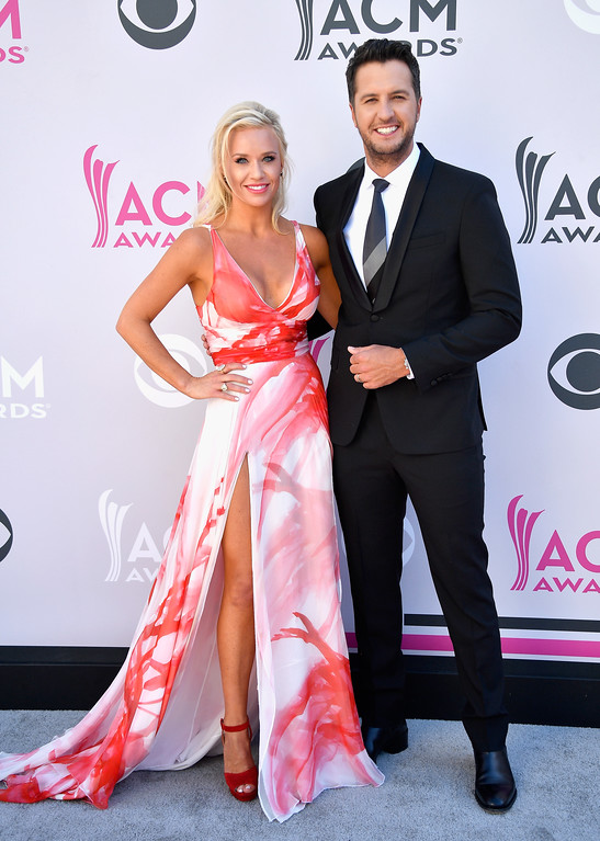 . LAS VEGAS, NV - APRIL 02:  Caroline Boyer (L) and co-host Luke Bryan attend the 52nd Academy Of Country Music Awards at Toshiba Plaza on April 2, 2017 in Las Vegas, Nevada.  (Photo by Frazer Harrison/Getty Images)