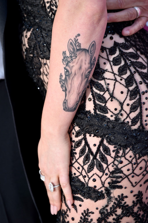 . LAS VEGAS, NV - APRIL 02:  Recording artist RaeLynn, tattoo detail, attends the 52nd Academy Of Country Music Awards at Toshiba Plaza on April 2, 2017 in Las Vegas, Nevada.  (Photo by Frazer Harrison/Getty Images)