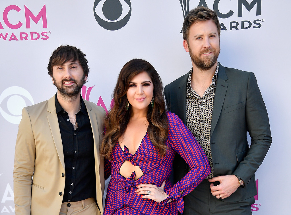 . LAS VEGAS, NV - APRIL 02:  (L-R) Recording artists Dave Haywood, Hillary Scott, and Charles Kelley of music group Lady Antebellum attend the 52nd Academy Of Country Music Awards at Toshiba Plaza on April 2, 2017 in Las Vegas, Nevada.  (Photo by Frazer Harrison/Getty Images)