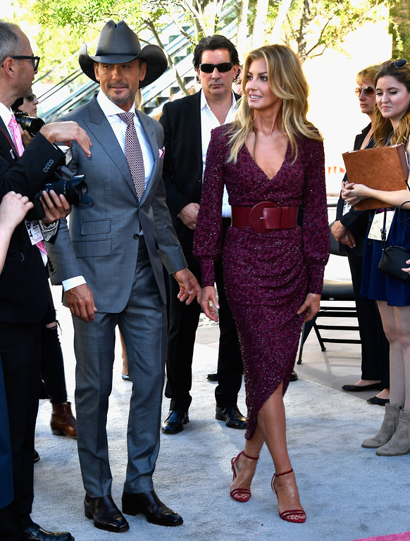 . LAS VEGAS, NV - APRIL 02:  Recording artists Tim McGraw (L) and Faith Hill attend the 52nd Academy Of Country Music Awards at Toshiba Plaza on April 2, 2017 in Las Vegas, Nevada.  (Photo by Frazer Harrison/Getty Images)