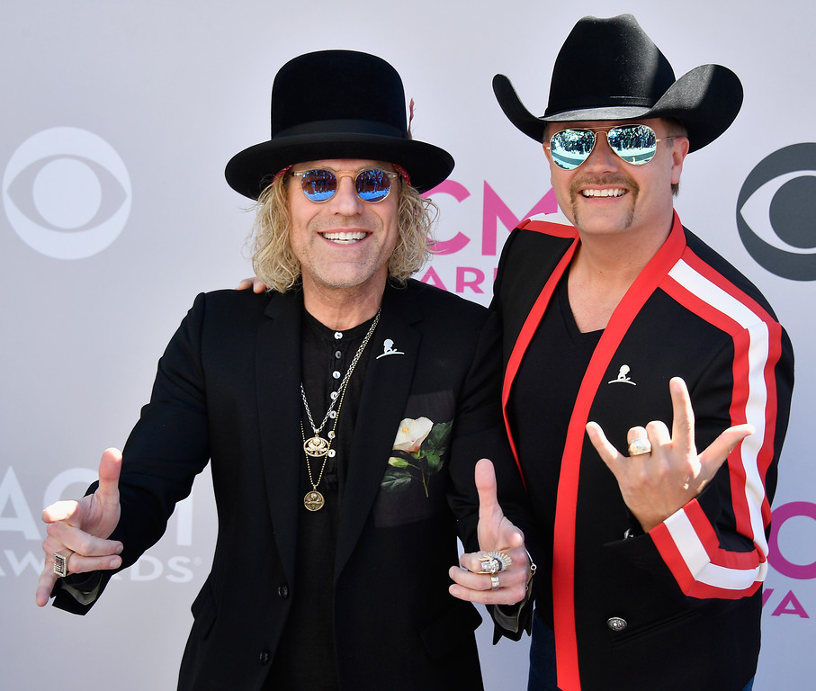 . LAS VEGAS, NV - APRIL 02:  Recording artists Big Kenny (L) and John Rich of music group Big & Rich attend the 52nd Academy Of Country Music Awards at Toshiba Plaza on April 2, 2017 in Las Vegas, Nevada.  (Photo by Frazer Harrison/Getty Images)