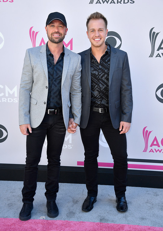 . LAS VEGAS, NV - APRIL 02:  Musician Cody Alan (L) and Michael Trea Smith attend the 52nd Academy Of Country Music Awards at Toshiba Plaza on April 2, 2017 in Las Vegas, Nevada.  (Photo by Frazer Harrison/Getty Images)