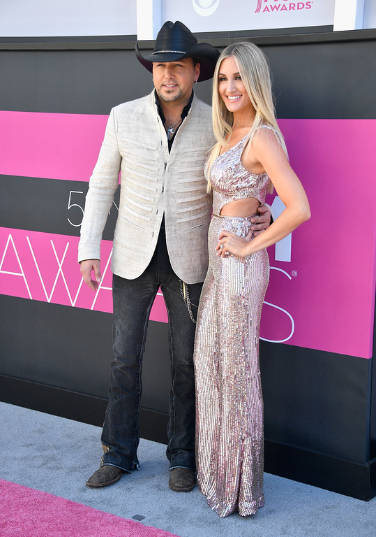 . LAS VEGAS, NV - APRIL 02:  Recording artist Jason Aldean (L) and Brittany Kerr attend the 52nd Academy Of Country Music Awards at Toshiba Plaza on April 2, 2017 in Las Vegas, Nevada.  (Photo by Frazer Harrison/Getty Images)
