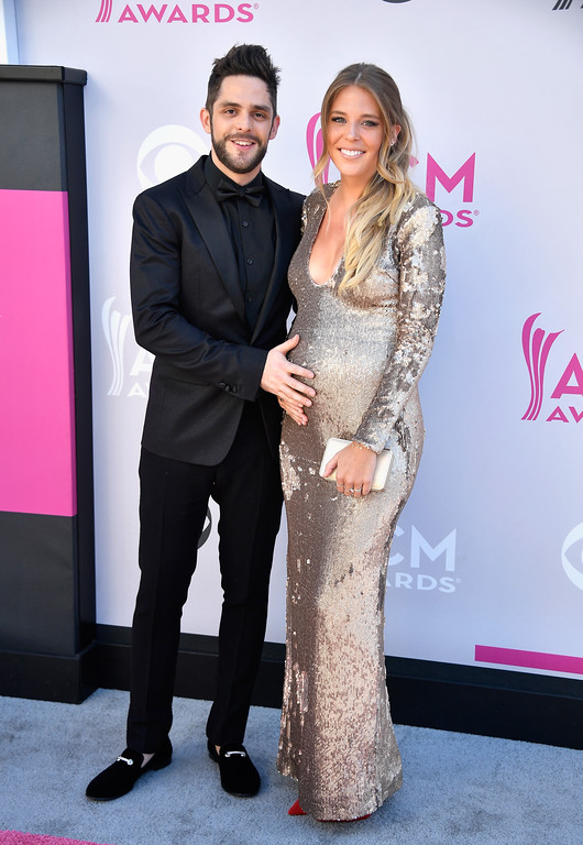 . LAS VEGAS, NV - APRIL 02:  Recording artist Thomas Rhett (L) and Lauren Gregory Akins attend the 52nd Academy Of Country Music Awards at Toshiba Plaza on April 2, 2017 in Las Vegas, Nevada.  (Photo by Frazer Harrison/Getty Images)