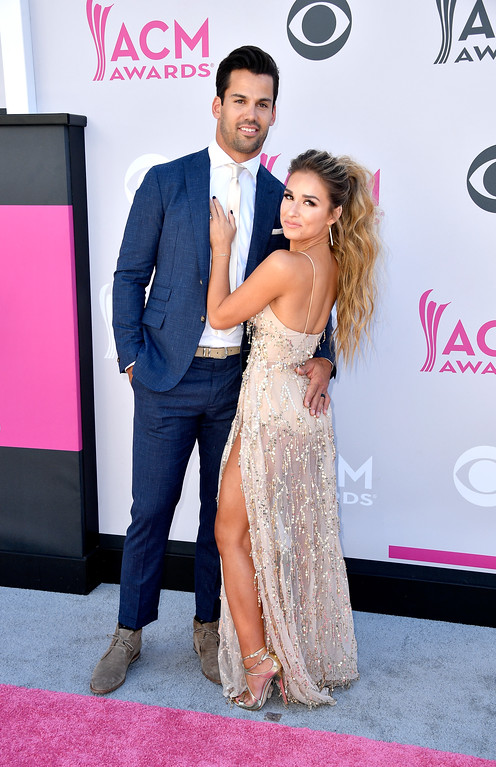 . LAS VEGAS, NV - APRIL 02:  NFL player Eric Decker (L) and singer Jessie James Decker attend the 52nd Academy Of Country Music Awards at Toshiba Plaza on April 2, 2017 in Las Vegas, Nevada.  (Photo by Frazer Harrison/Getty Images)