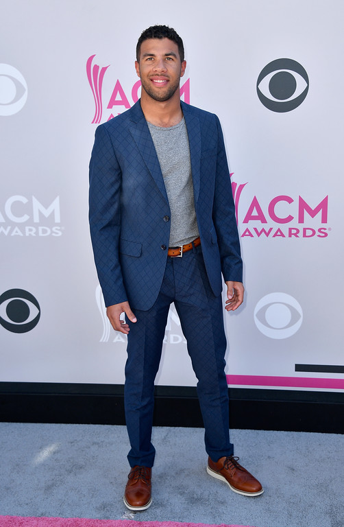 . LAS VEGAS, NV - APRIL 02:  Professional race car driver Bubba Wallace attends the 52nd Academy Of Country Music Awards at Toshiba Plaza on April 2, 2017 in Las Vegas, Nevada.  (Photo by Frazer Harrison/Getty Images)