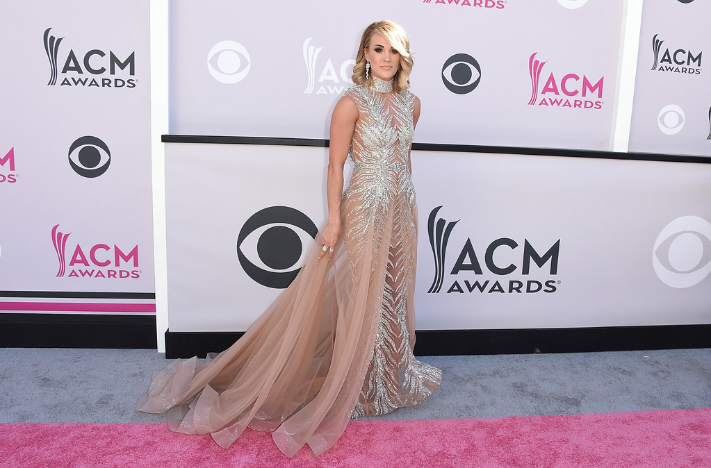 . Carrie Underwood arrives at the 52nd annual Academy of Country Music Awards at the T-Mobile Arena on Sunday, April 2, 2017, in Las Vegas. (Photo by Jordan Strauss/Invision/AP)