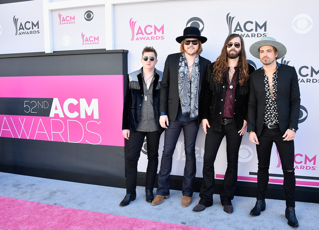 . LAS VEGAS, NV - APRIL 02:  (L-R) Musicians Bill Satcher,  Michael Hobby, Graham DeLoach, and Zach Brown of A Thousand Horses attend the 52nd Academy Of Country Music Awards at Toshiba Plaza on April 2, 2017 in Las Vegas, Nevada.  (Photo by Frazer Harrison/Getty Images)