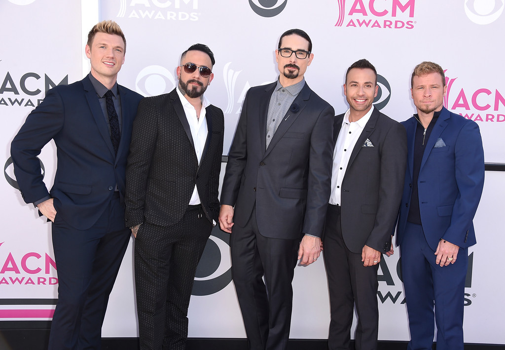 . Nick Carter, from left, AJ McLean, Brian Littrell, Howie Dorough, and Kevin Richardson, of Backstreet Boys, arrive at the 52nd annual Academy of Country Music Awards at the T-Mobile Arena on Sunday, April 2, 2017, in Las Vegas. (Photo by Jordan Strauss/Invision/AP)