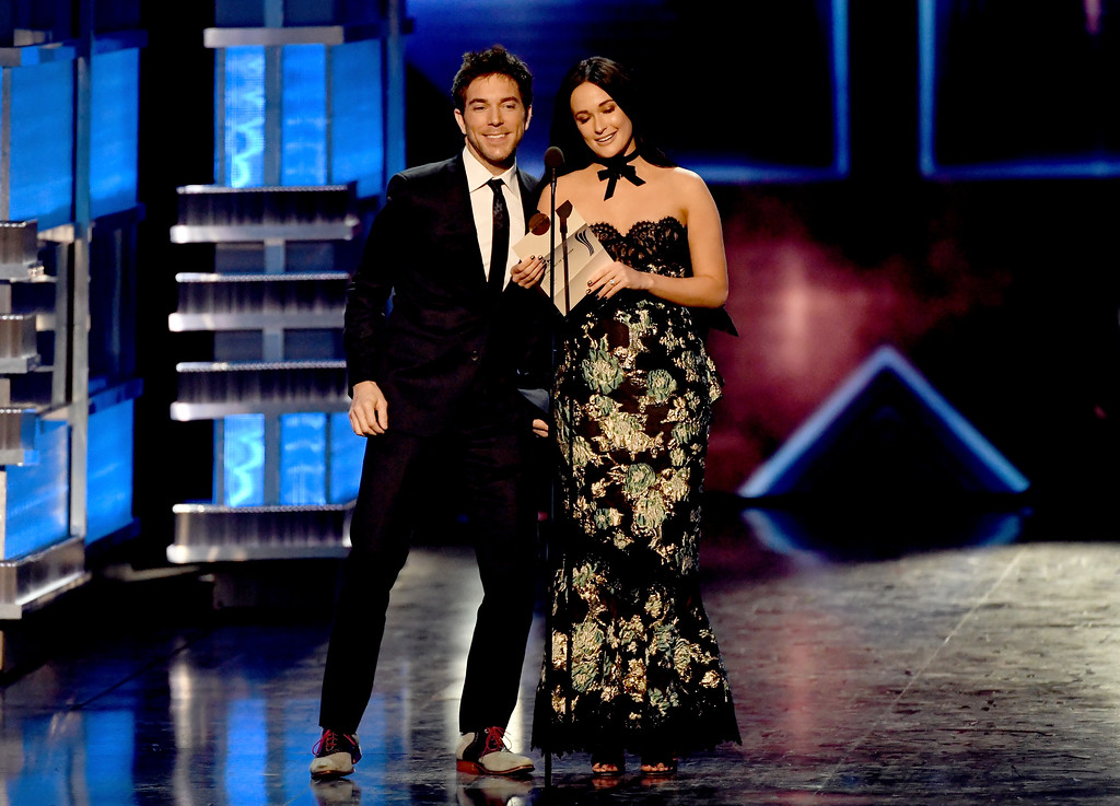 . LAS VEGAS, NV - APRIL 02:  Radio personality Ty Bentli (L) and recording artist Kacey Musgraves speak onstage during the 52nd Academy Of Country Music Awards at T-Mobile Arena on April 2, 2017 in Las Vegas, Nevada.  (Photo by Ethan Miller/Getty Images)