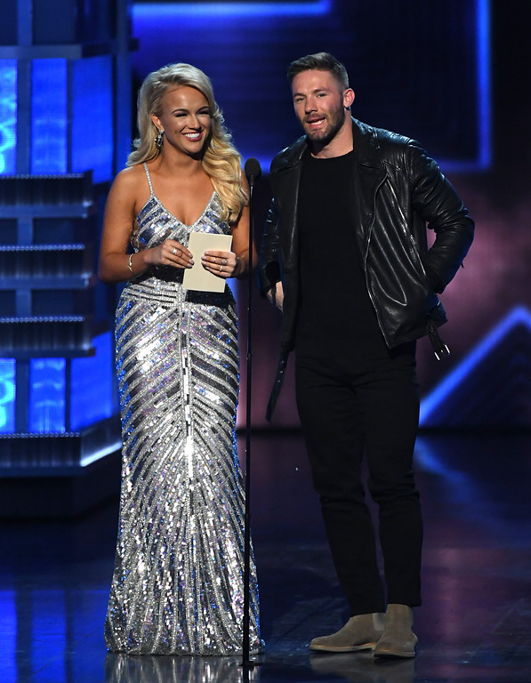 . LAS VEGAS, NV - APRIL 02:  Miss America 2017 Savvy Shields (L) and NFL player Julian Edelman speak onstage during the 52nd Academy Of Country Music Awards at T-Mobile Arena on April 2, 2017 in Las Vegas, Nevada.  (Photo by Ethan Miller/Getty Images)