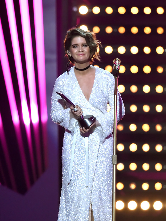 . LAS VEGAS, NV - APRIL 02:  Recording artist Maren Morris accepts the T-Mobile New Female Vocalist of the Year award onstage during the 52nd Academy Of Country Music Awards at T-Mobile Arena on April 2, 2017 in Las Vegas, Nevada.  (Photo by Ethan Miller/Getty Images)