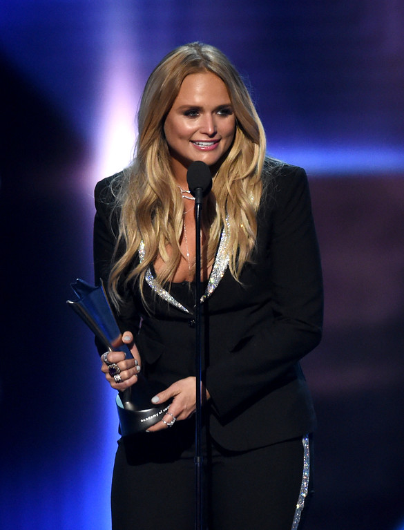 . LAS VEGAS, NV - APRIL 02:  Recording artist Miranda Lambert accepts the Album of the Year award for \'The Weight of These Wings\' onstage during the 52nd Academy Of Country Music Awards at T-Mobile Arena on April 2, 2017 in Las Vegas, Nevada.  (Photo by Ethan Miller/Getty Images)