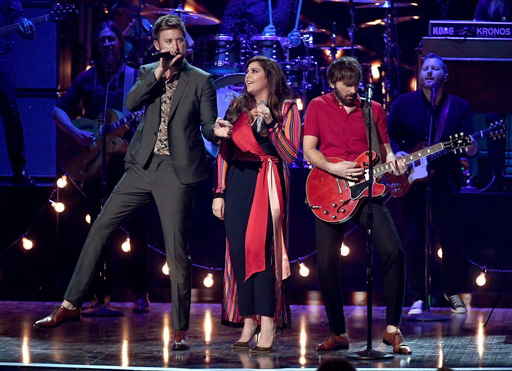 . LAS VEGAS, NV - APRIL 02:  (L-R) Recording artists Hillary Scott, Charles Kelley, and Dave Haywood of music group Lady Antebellum perform onstage during the 52nd Academy Of Country Music Awards at T-Mobile Arena on April 2, 2017 in Las Vegas, Nevada.  (Photo by Ethan Miller/Getty Images)