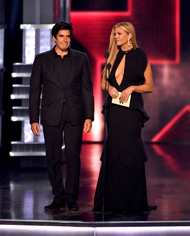 . LAS VEGAS, NV - APRIL 02:  Illusionist David Copperfield (L) and TV personality Nancy O\'Dell speak onstage during the 52nd Academy Of Country Music Awards at T-Mobile Arena on April 2, 2017 in Las Vegas, Nevada.  (Photo by Ethan Miller/Getty Images)