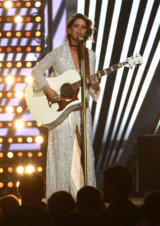 ". Maren Morris performs ""I Could Use a Love Song\"" at the 52nd annual Academy of Country Music Awards at the T-Mobile Arena on Sunday, April 2, 2017, in Las Vegas. (Photo by Chris Pizzello/Invision/AP)"