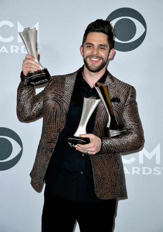 . LAS VEGAS, NV - APRIL 02:  Singer-songwriter Thomas Rhett, winner of the awards for Male Vocalist of the Year and Song of the Year, poses in the press room during the 52nd Academy Of Country Music Awards at T-Mobile Arena on April 2, 2017 in Las Vegas, Nevada.  (Photo by Frazer Harrison/Getty Images)
