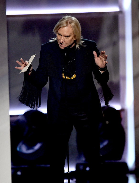 . LAS VEGAS, NV - APRIL 02:  Recording artist Joe Walsh speaks onstage during the 52nd Academy Of Country Music Awards at T-Mobile Arena on April 2, 2017 in Las Vegas, Nevada.  (Photo by Ethan Miller/Getty Images)