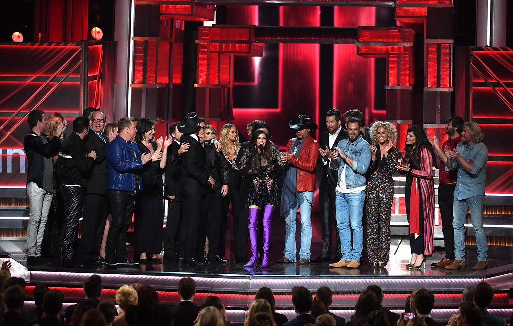 . LAS VEGAS, NV - APRIL 02:  Recording artist Karen Fairchild of Little Big Town accepts the Video of the Year award for \'Forever Country\' on behalf of fellow winners onstage during the 52nd Academy Of Country Music Awards at T-Mobile Arena on April 2, 2017 in Las Vegas, Nevada.  (Photo by Ethan Miller/Getty Images)
