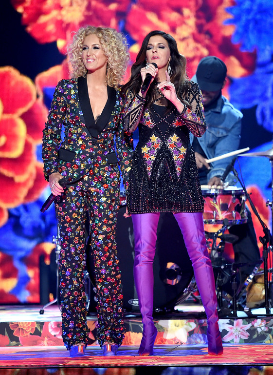. LAS VEGAS, NV - APRIL 02:  Recording artists Kimberly Schlapman (L) and Karen Fairchild of music group Little Big Town perform onstage during the 52nd Academy Of Country Music Awards at T-Mobile Arena on April 2, 2017 in Las Vegas, Nevada.  (Photo by Ethan Miller/Getty Images)