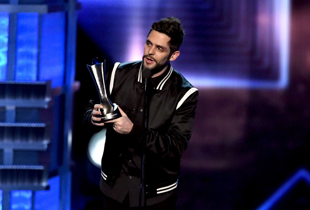 . LAS VEGAS, NV - APRIL 02:  Recording artist Thomas Rhett accepts the Male Vocalist of the Year award onstage during the 52nd Academy Of Country Music Awards at T-Mobile Arena on April 2, 2017 in Las Vegas, Nevada.  (Photo by Ethan Miller/Getty Images)