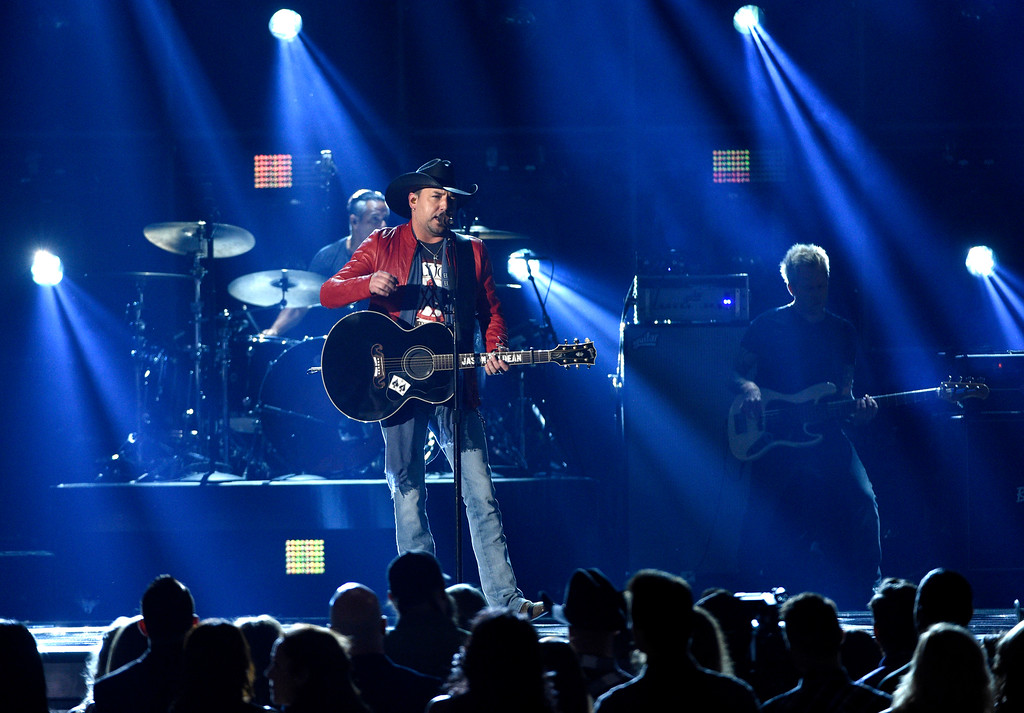 ". Jason Aldean performs ""Any Ol\' Barstool\"" at the 52nd annual Academy of Country Music Awards at the T-Mobile Arena on Sunday, April 2, 2017, in Las Vegas. (Photo by Chris Pizzello/Invision/AP)"
