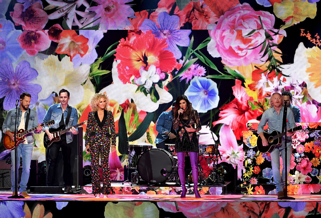 . LAS VEGAS, NV - APRIL 02:  (L-R) Recording artists Jimi Westbrook, Kimberly Schlapman, Karen Fairchild, and Phillip Sweet of music group Little Big Town perform onstage during the 52nd Academy Of Country Music Awards at T-Mobile Arena on April 2, 2017 in Las Vegas, Nevada.  (Photo by Ethan Miller/Getty Images)