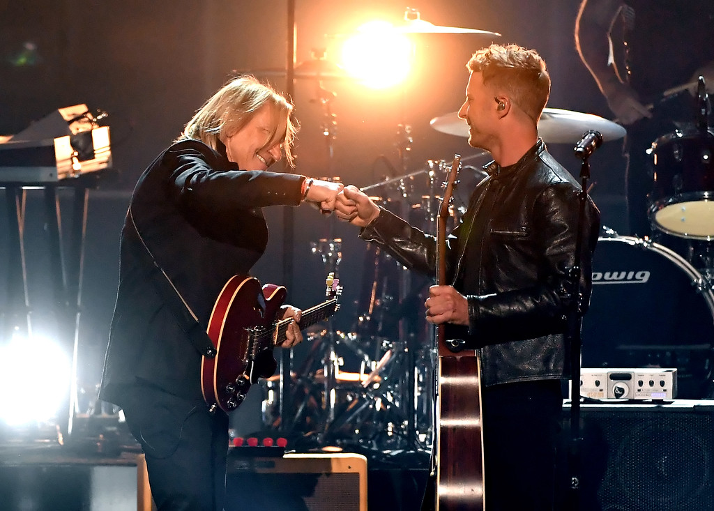 . LAS VEGAS, NV - APRIL 02:  Recording artist Joe Walsh (L) and co-host Dierks Bentley perform onstage during the 52nd Academy Of Country Music Awards at T-Mobile Arena on April 2, 2017 in Las Vegas, Nevada.  (Photo by Ethan Miller/Getty Images)