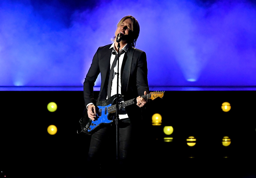 . LAS VEGAS, NV - APRIL 02:  Recording artist Keith Urban performs onstage during the 52nd Academy Of Country Music Awards at T-Mobile Arena on April 2, 2017 in Las Vegas, Nevada.  (Photo by Ethan Miller/Getty Images)