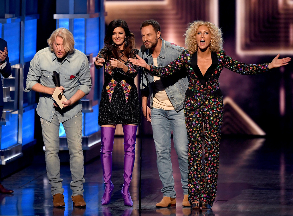 . LAS VEGAS, NV - APRIL 02:  (L-R) Recording artists Phillip Sweet, Karen Fairchild, Jimi Westbrook, and Kimberly Schlapman of music group Little Big Town accept the Vocal Group of the Year award onstage during the 52nd Academy Of Country Music Awards at T-Mobile Arena on April 2, 2017 in Las Vegas, Nevada.  (Photo by Ethan Miller/Getty Images)