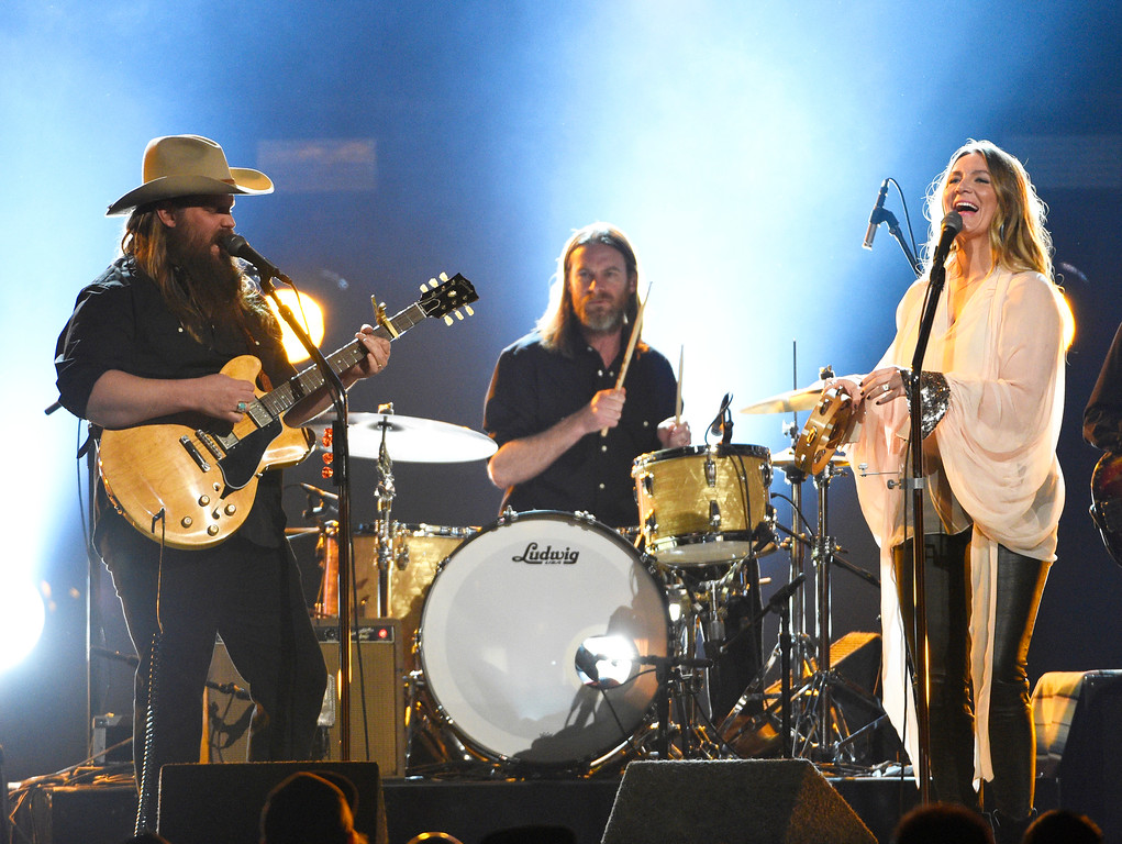 ". Chris Stapleton, left, performs ""Second One to Know\"" at the 52nd annual Academy of Country Music Awards at the T-Mobile Arena on Sunday, April 2, 2017, in Las Vegas. (Photo by Chris Pizzello/Invision/AP)"
