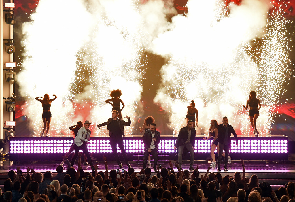 . LAS VEGAS, NV - APRIL 02:  (L-R) Recording artists Brian Littrell, Nick Carter, AJ McLean, Kevin Richardson, and Howie D of music group Backstreet Boys perform onstage during the 52nd Academy Of Country Music Awards at T-Mobile Arena on April 2, 2017 in Las Vegas, Nevada.  (Photo by Ethan Miller/Getty Images)