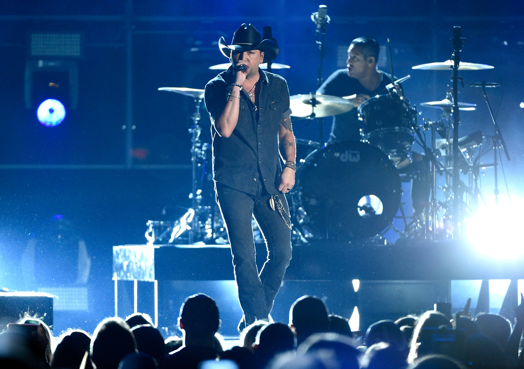 . Jason Aldean performs at the 52nd annual Academy of Country Music Awards at the T-Mobile Arena on Sunday, April 2, 2017, in Las Vegas. (Photo by Chris Pizzello/Invision/AP)