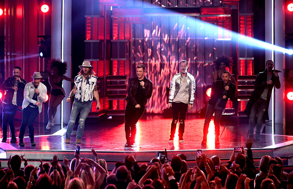 . LAS VEGAS, NV - APRIL 02:  Music groups Florida Georgia Line and Backstreet Boys perform onstage during the 52nd Academy Of Country Music Awards at T-Mobile Arena on April 2, 2017 in Las Vegas, Nevada.  (Photo by Ethan Miller/Getty Images)