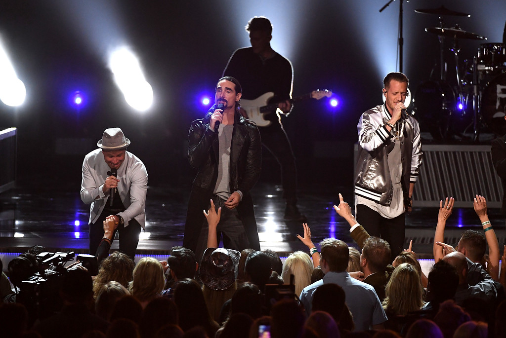 . LAS VEGAS, NV - APRIL 02:  (L-R) Recording artists  Brian Littrell and Kevin Richardson of music group Backstreet Boys and Tyler Hubbard of music group Florida Georgia Line perform onstage during the 52nd Academy Of Country Music Awards at T-Mobile Arena on April 2, 2017 in Las Vegas, Nevada.  (Photo by Ethan Miller/Getty Images)