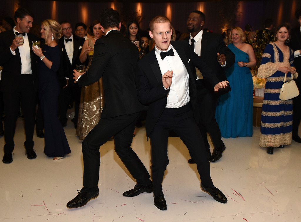 . Dominic Cooper, left, and Lucas Hedges dance at the Governors Ball after the Oscars on Sunday, Feb. 26, 2017, at the Dolby Theatre in Los Angeles. (Photo by Al Powers/Invision/AP)