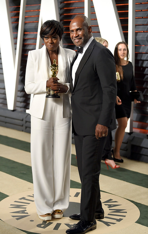 . Viola Davis, left, and Julius Tennon arrive at the Vanity Fair Oscar Party on Monday, Feb. 27, 2017, in Beverly Hills, Calif. (Photo by Evan Agostini/Invision/AP)