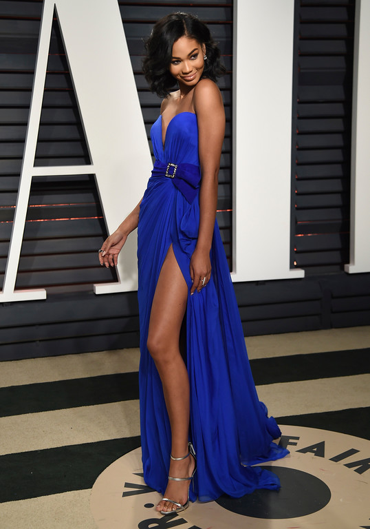 . Chanel Iman arrives at the Vanity Fair Oscar Party on Monday, Feb. 27, 2017, in Beverly Hills, Calif. (Photo by Evan Agostini/Invision/AP)