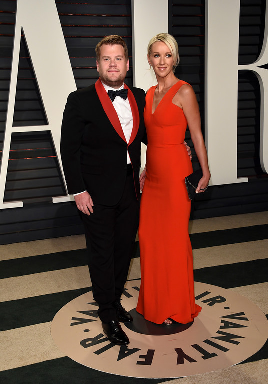 . James Corden, left, and Julia Carey arrive at the Vanity Fair Oscar Party on Sunday, Feb. 26, 2017, in Beverly Hills, Calif. (Photo by Evan Agostini/Invision/AP)