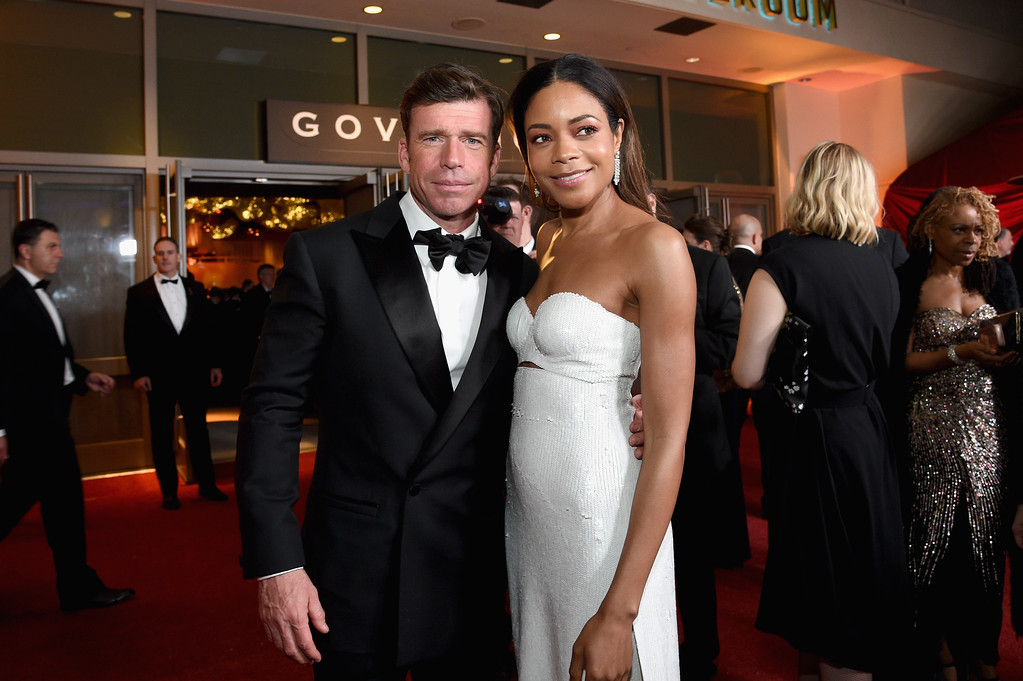 . HOLLYWOOD, CA - FEBRUARY 26:  Screenwriter Taylor Sheridan (L) and actor Naomie Harris attend the 89th Annual Academy Awards Governors Ball at Hollywood & Highland Center on February 26, 2017 in Hollywood, California.  (Photo by Kevork Djansezian/Getty Images)