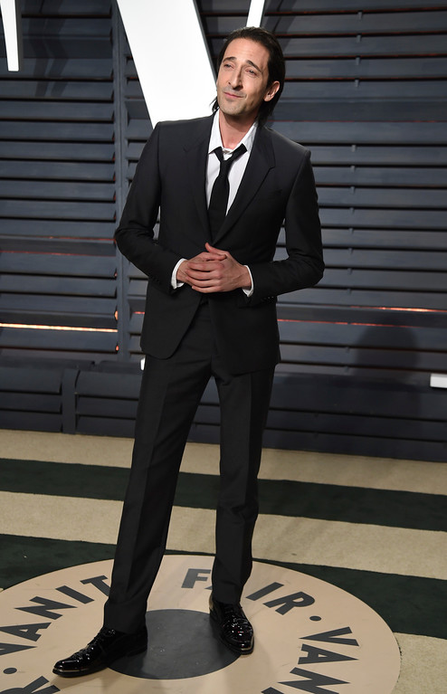 . Adrien Brody arrives at the Vanity Fair Oscar Party on Sunday, Feb. 26, 2017, in Beverly Hills, Calif. (Photo by Evan Agostini/Invision/AP)