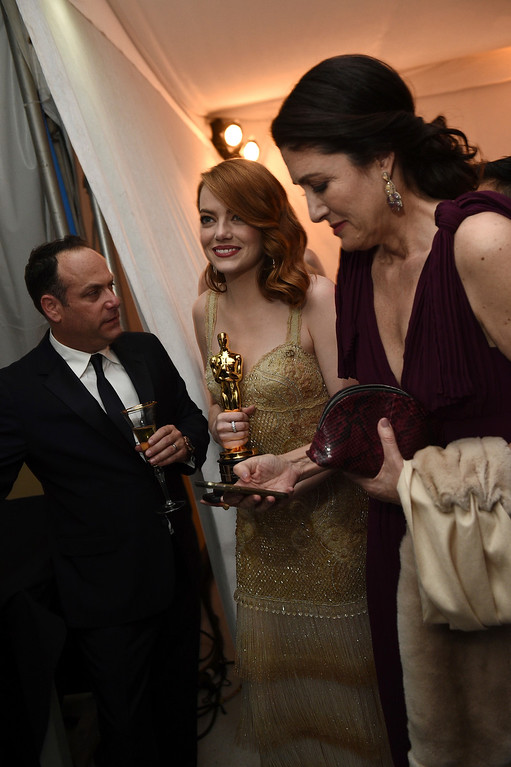 """. Emma Stone the award winner for best actress in a leading role for \""""La La Land attends the Governors Ball after the Oscars on Sunday, Feb. 26, 2017, at the Dolby Theatre in Los Angeles. (Photo by Al Powers/Invision/AP)"""