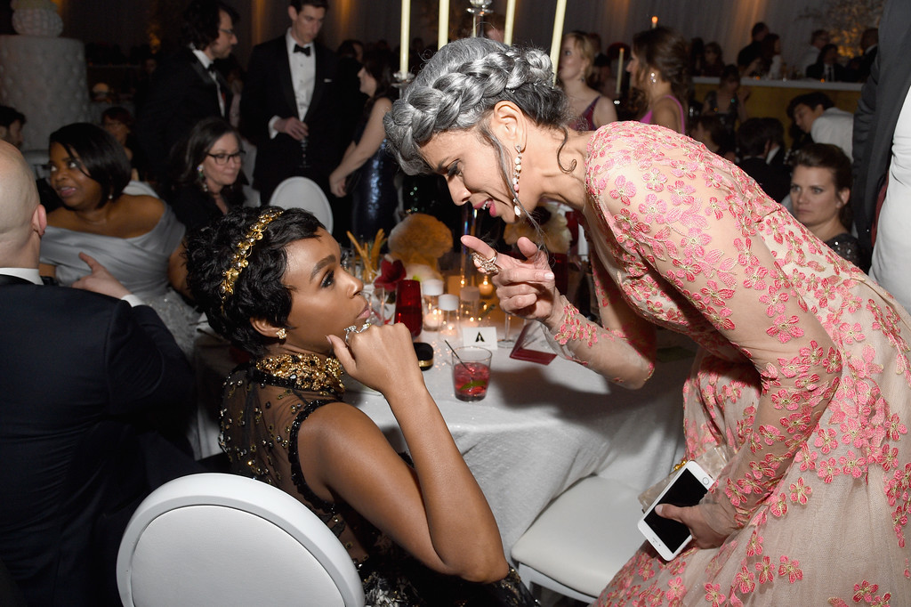 . HOLLYWOOD, CA - FEBRUARY 26:  Actor Janelle Monae and Model Helen Lasichanh attend the 89th Annual Academy Awards Governors Ball at Hollywood & Highland Center on February 26, 2017 in Hollywood, California.  (Photo by Kevork Djansezian/Getty Images)